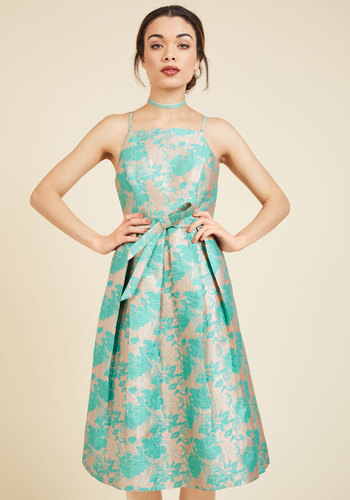 Penchant for Opulence A-Line Dress in Aqua Blossoms - Solid, Lace, Pleats, Belted, Special Occasion, Prom, Party, Cocktail, Holiday Party, Graduation, Valentine's, Homecoming, Wedding Guest, Vintage Inspired, 50s, Luxe, A-line, Fit & Flare, Spaghetti Straps, Spring, Summer, Best, Exclusives, Long