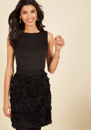 Meet Me At Midnight Sheath Dress - Black, Solid, Party, Cocktail, Wedding Guest, Sheath, Sleeveless, Knit, Lace, Best, Scoop