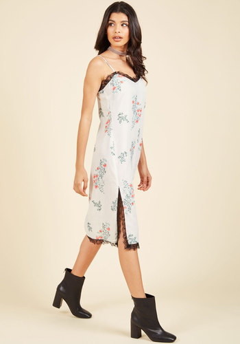 Retro as of Recent Slip Dress - Cotton, Woven, Lace, Long, Girls Night Out