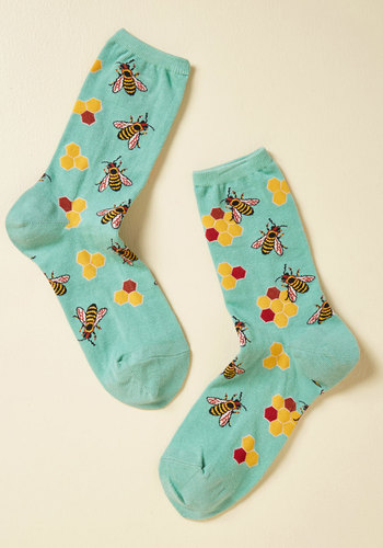 What's the Buzz? Socks in Aqua - Blue, Critters, Knit, Print with Animals, Casual, Top Rated