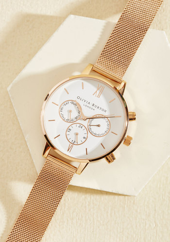 Wrist Opportunity Watch in Rose Gold & White - Big by Olivia Burton - Gold, White, Work, Casual, Rose Gold, Winter, Gold, Metal, Exceptional