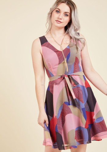 Panache Priority A-Line Dress by ModCloth - Daytime Party, A-line, Sleeveless, Woven, Best, Summer, Mid-length, Exclusives, Private Label, Pink, Print, Geometric, Work, Casual, Vintage Inspired, 60s, Multi, Pockets, Belted, Sundress, V Neck, Boho, Best Seller, Best Seller, ModCloth Label