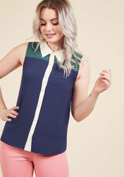 Class to Cafe Sleeveless Top in Navy