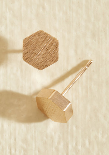 Since You Been Hexagon Earrings in Rose Gold - Gold, Casual, Mod, Minimal, Rose Gold, Top Rated, Best Seller, Best Seller