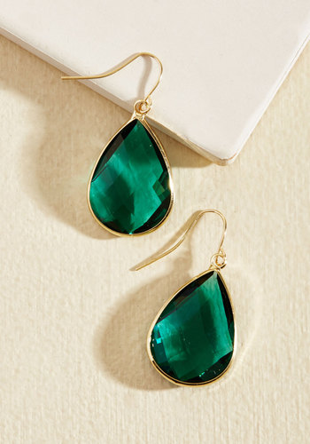 Receiving Drop Honors Earrings in Green - Green, Gold, Wedding, Party, Cocktail, Gold, Gifts2015