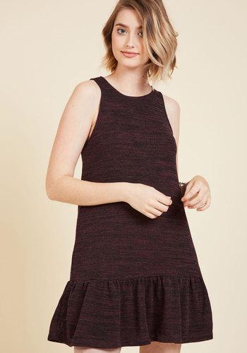 Ruffle and Tumble Sweater Dress - Red, Solid, Casual, Shift, Sweater Dress, Sleeveless, Fall, Knit, Good, Short, Mod, Mini