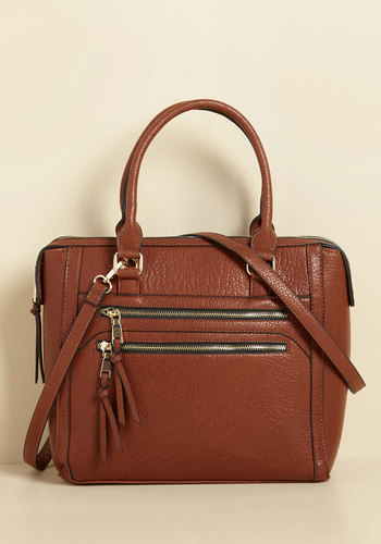 The Physics of Promotion Bag - Brown, Exposed zipper, Casual, Fall, Faux Leather, Better, Work, Minimal