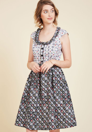 Snails Pitch A-Line Dress - Multi, Black, Print with Animals, Print, Casual, Mushrooms, Critters, A-line, Short Sleeves, Fall, Woven, Best, Black, Long