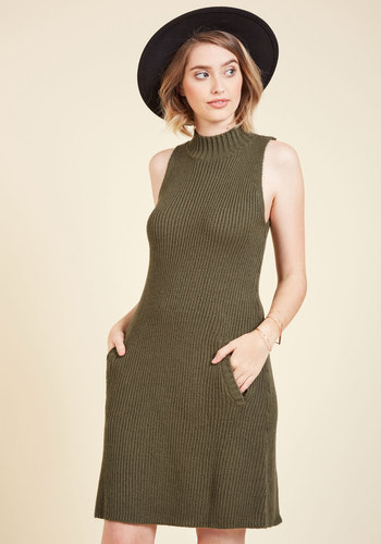 Just Keeps Getting Sweater Dress - Green, Solid, Casual, A-line, Sweater Dress, Sleeveless, Fall, Knit, Better, Mid-length, Mod, Mockneck