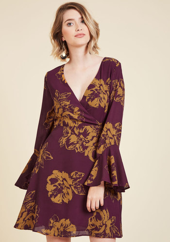 Impressing Flowers A-Line Dress - Purple, Yellow, Floral, Print, Boho, A-line, 3/4 Sleeve, Fall, Woven, Better, Mid-length, Party, Girls Night Out, Daytime Party, 70s, V Neck