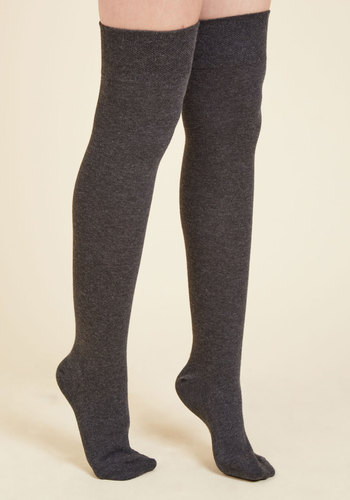 Knee I Say More? Thigh Highs in Charcoal - Grey, Solid, Work, Casual, Fall, Winter, Better, Over the Knee (OTK)