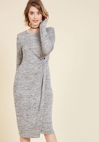 Waist Knot, Want Not Sweater Dress - Grey, Solid, Work, Casual, Wrap, Sheath, Long Sleeve, Fall, Knit, Better, Long