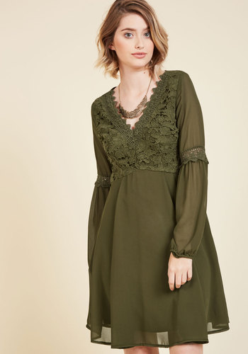 Blithe as We Know It Long Sleeve Dress - Green, Lace, Casual, Daytime Party, Boho, A-line, Long Sleeve, Fall, Winter, Woven, Better, Mid-length, Wedding, Work, Wedding Guest, 70s, V Neck, Lace