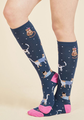 Tabby Days Are Here Again Socks - Green, Pink, Print with Animals, Casual, Lounge, Quirky, Cats, Spring, Better, Green, Saturated