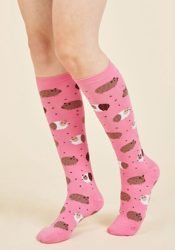 In the Pig Leagues Now Socks - Pink, Brown, Print with Animals, Casual, Quirky, Critters, Spring, Summer, Better, Pink, Saturated