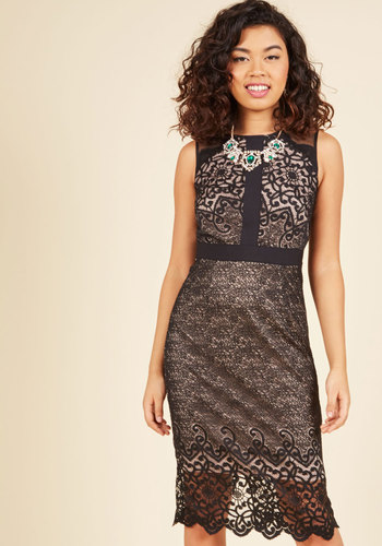 Exquisite Engagement Sheath Dress - Black, Tan / Cream, Solid, Exposed zipper, Lace, Scallops, Special Occasion, Party, Cocktail, Girls Night Out, Holiday Party, Homecoming, Wedding Guest, Vintage Inspired, Luxe, Statement, Pencil, Sheath, Sleeveless, Fall, Winter, Knee Length, Lace, Exceptional, Scoop