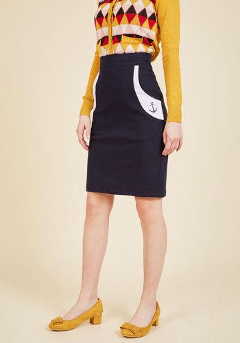 1940s Style Skirts Take Me Aweigh Pencil Skirt $49.99 AT vintagedancer.com