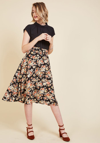 Retro Skirts: Vintage, Pencil, Circle, & Plus Sizes Bugle Bravado A-Line Skirt in Botanical Black $59.99 AT vintagedancer.com