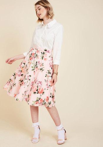 Retro Skirts: Vintage, Pencil, Circle, & Plus Sizes Bugle Joy Skirt in Pink Blossoms $59.99 AT vintagedancer.com