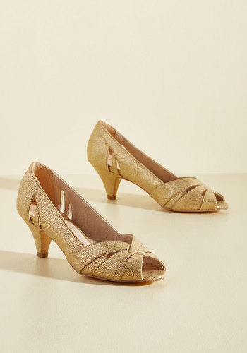 Retro & Vintage Style Shoes From Party to Finish Metallic Heel in Gold $67.99 AT vintagedancer.com