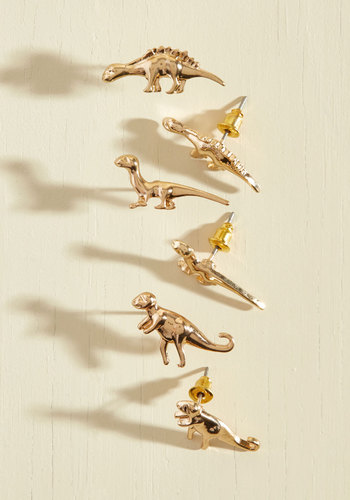 Dino Doubt About It Earring Set - Gold, Casual, Daytime Party, Quirky, Critters, Best Seller, Best Seller, Store 2, Critter Gifts, Under 50 Gifts, Under 25 Gifts, Unique Gifts, Store 1