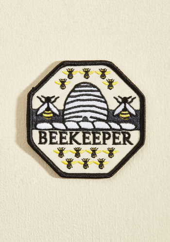 Keeper of Bees Patch - Critters, Spring, Good, Multi, Yellow, Black, White, Novelty Print, Rustic, Summer, Quirky, Yellow