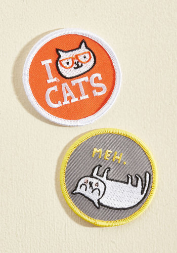 Mixed Felines Patch Set - Multi, Print with Animals, Novelty Print, Patch, 90s, Handmade & DIY, Quirky, Cats, Nifty Nerd, Spring, Summer, Fall, Winter, Gals, Under $20, Vintage Inspired, Red, Store 2, Store 1