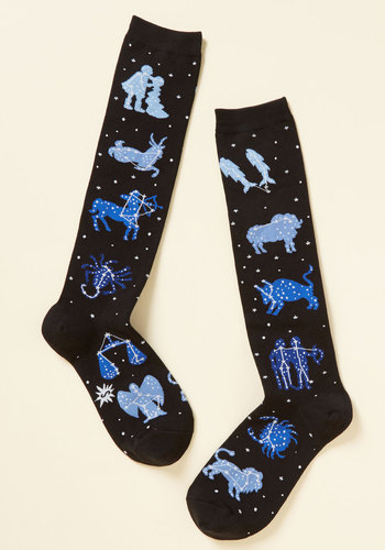 Zodiac on the Floor Socks - Black, Blue, Print, Casual, Knit, Good, Stocking Stuffers, Cosmic Gifts, Under 50 Gifts, Under 25 Gifts