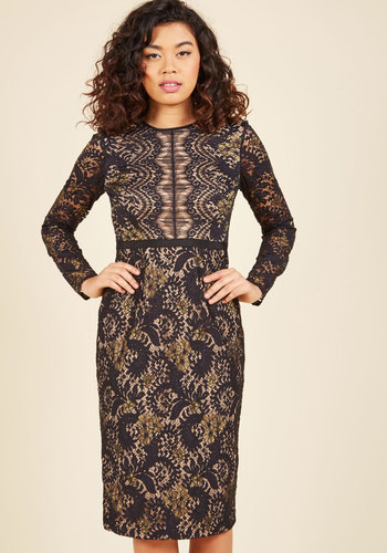 Enthralled Audience Sheath Dress - Black, Tan / Cream, Lace, Special Occasion, Party, Cocktail, Girls Night Out, Holiday Party, Homecoming, Wedding Guest, Vintage Inspired, Luxe, Sheath, Long Sleeve, Fall, Winter, Knee Length, Lace, Exceptional, Scoop