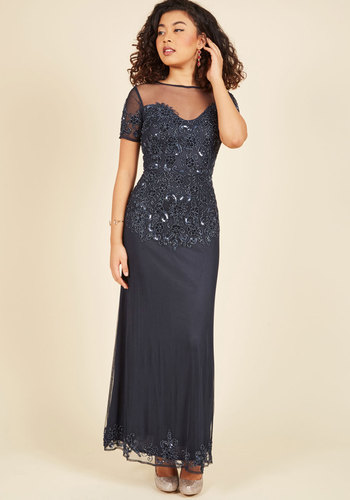 Give In to Glamour Maxi Dress - Knit, Long, Luxe Gifts, Sparkly2015