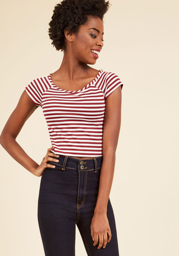 Vintage & Retro Shirts, Halter Tops, Blouses and more Roller Derby Date Striped Top in Maroon $24.99 AT vintagedancer.com