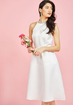 Cinematic Classic Fit and Flare Dress in Ivory