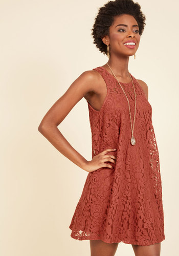 Music Hall Maven Lace Dress - Orange, Solid, Casual, Shift, Sleeveless, Fall, Woven, Lace, Better, Mid-length, Mini, Lace, Sheer