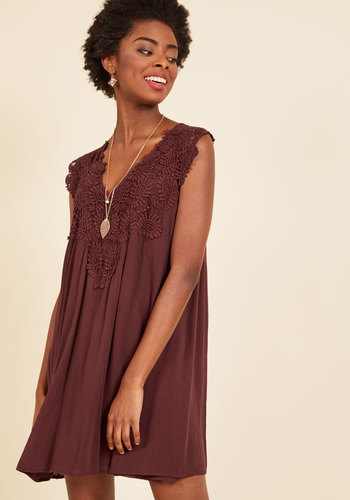 I Want it That Sway Shift Dress in Burgundy - Red, Solid, Crochet, Casual, Daytime Party, Boho, Shift, Short Sleeves, Fall, Winter, Woven, Good, Short, Mini