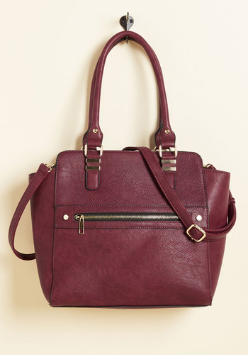 Styled and Beguiled Bag in Merlot - Red, Exposed zipper, Work, Fall, Faux Leather, Better, Solid, Variation