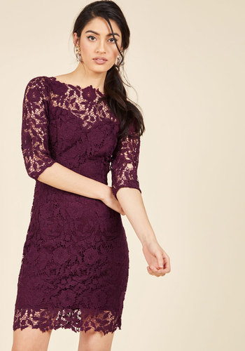 Duly Noticed Lace Dress in Wine - Mid-length, Red, Lace, Special Occasion, Cocktail, Valentine's, Homecoming, Wedding Guest, Sheath, 3/4 Sleeve, Boat, Best Seller, Best Seller, Lace, Holiday Party, Saturated, Sheer