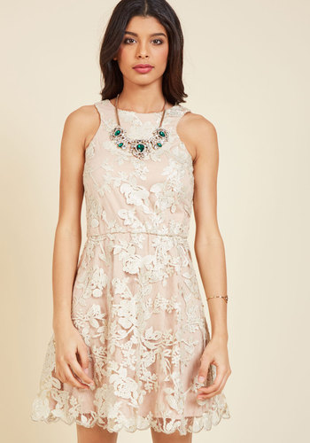 Windflower Waltz Sequin Dress in Rosewater - Woven, Mid-length, Blush, Tan / Cream, Floral, Sequins, Special Occasion, Prom, Cocktail, Bridesmaid, Wedding Guest, Pastel, Darling, A-line, Sleeveless, Spring, Crew, Tis the Season Sale