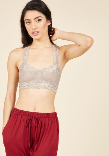 Breath and Balance Bralette in Pebble - Lace