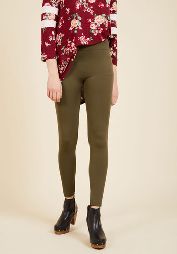 Crazy for Cozy Fleece-Lined Leggings in Olive