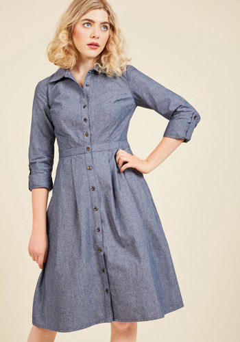 Broadcast Coordinator Denim Dress by ModCloth - Blue, Solid, Work, A-line, Shirt Dress, 3/4 Sleeve, Fall, Woven, Better, Exclusives, Private Label, Cotton, Long, Pockets, Store 2, ModCloth Label, Best Seller, Best Seller, Casual, Vintage Inspired, 40s, 50s, Spring, Winter, Collared