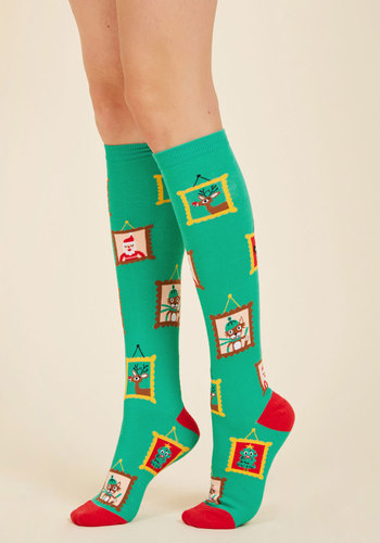Fame by Frame Socks - Green, Red, Multi, Print, Casual, Knit, Good, Stocking Stuffers, Under 50 Gifts, Under 25 Gifts, Holiday Gifts