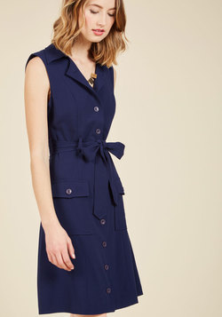 Engaging Editorialist Shirt Dress in Navy