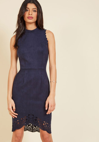It's Just My Sophistication Sheath Dress - Blue, Solid, Scallops, Work, Daytime Party, Sheath, Sleeveless, Fall, Faux Suede, Better, Mid-length, Homecoming