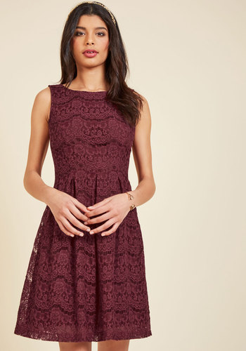 Ever Adulatory Lace Dress - Lace, Red, Solid, Daytime Party, Valentine's, Fit & Flare, Sleeveless, Fall, Winter, Mid-length, Homecoming, Lace
