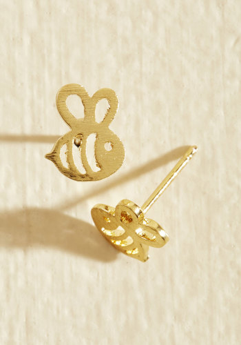 Easy Buzz It Earrings - Gold, Casual, Critters, Spring, Summer, Quirky