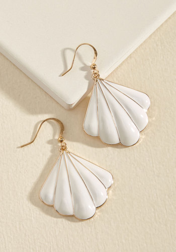 Shell-ing Point Earrings - Cream, Nautical, Summer, Gold, Good, Solid, Wedding, Daytime Party, Beach/Resort, Vintage Inspired, Minimal, Best Seller, Best Seller
