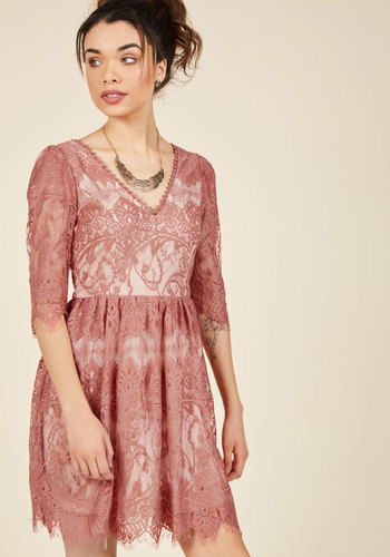 Anticipating Adoration Lace Dress - Blush, Solid, Daytime Party, Vintage Inspired, French / Victorian, A-line, 3/4 Sleeve, Fall, Woven, Lace, Better, Mid-length, Homecoming, Lace