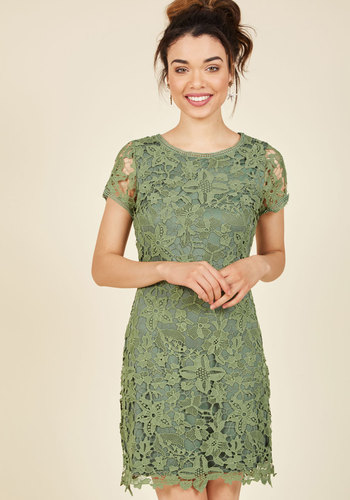 Double Take Me Away Lace Dress - Green, Solid, Work, Daytime Party, A-line, Short Sleeves, Fall, Winter, Woven, Lace, Better, Mid-length, Lace