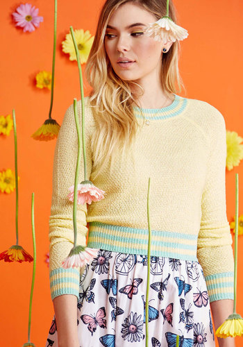Retro Vintage Sweaters Midtown Mixer Sweater in Buttercup $49.99 AT vintagedancer.com