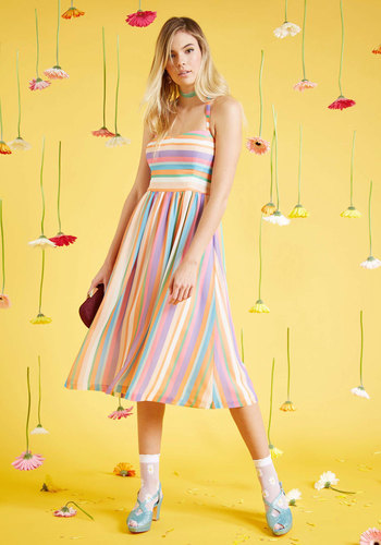 Purposefully Piquant Midi Dress by ModCloth - Pink, Multi, Stripes, Print, Casual, Daytime Party, Vintage Inspired, 70s, Sleeveless, Halter, Spring, Summer, Woven, Exceptional, Exclusives, Private Label, Long, Pockets, ModCloth Label, Pastel, Store 1, Empire, Midi